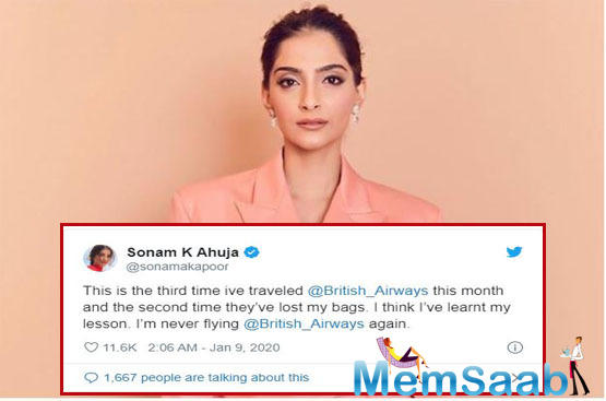 Sonam Kapoor claims British Airways misplaces her luggage twice in a month