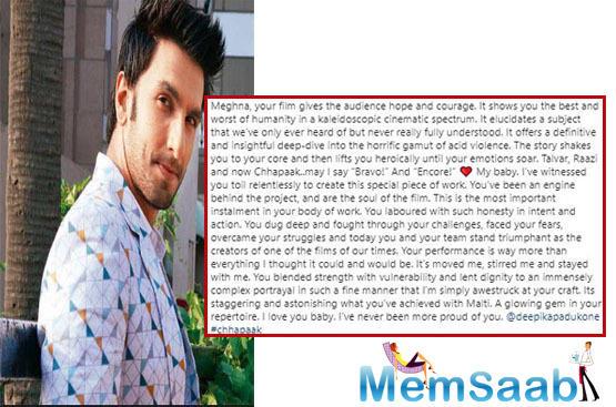 Ranveer Singh praises Deepika Padukone and Meghna Gulzar for 'Chhapaak'
