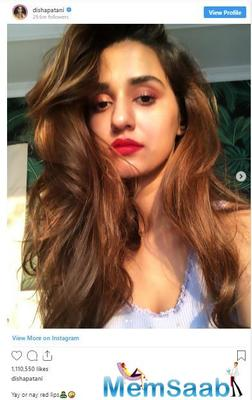 """Disha Patani asks fans 'yay or nay' for red lips and a user says, """"stylist se poocho'"""