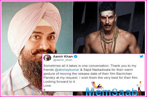 Feeling thankful about it, Aamir Khan shared a message on his social media handle and wrote,