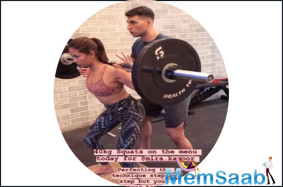 Mira Rajput Kapoor, who is also a fitness enthusiast like her husband actor Shahid Kapoor, recently shared a couple of videos on Instagram that show her doing squats while carrying 40 kg weights and, boy, are we impressed!