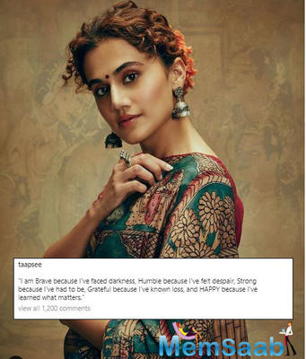 Taapsee Pannu aces the ethnic look with motivational caption