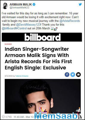 Exclusive: Armaan Malik has signed his first english single with New York-based Arista Records