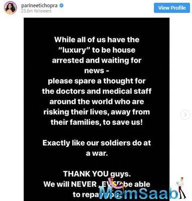 Bollywood actress Parineeti Chopra who has been shooting for her projects in and out of the country has been sharing posts about the steps to take to avoid being infected from the virus.
