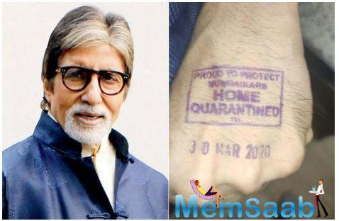 Amitabh Bachchan gets a 'Home Quarantined' stamp on his hand