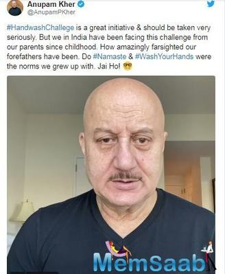 Anupam Kher: #HandWashChallenge a great initiative, but isn't this something our parents have taught us?