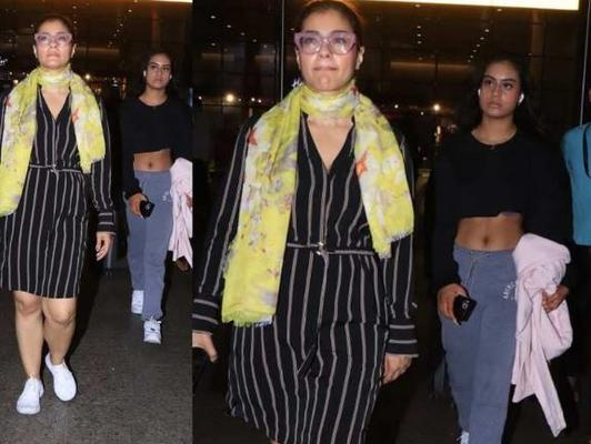 On Wednesday, Kajol and Nysa were seen at the Mumbai airport