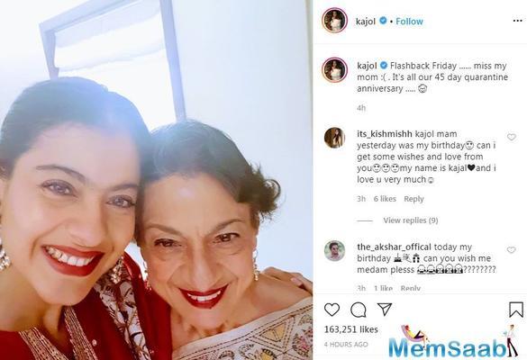 Kajol misses mother Tanuja amid coronavirus lockdown