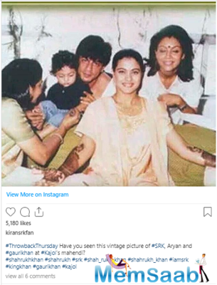 Throwback Picture: When Shah Rukh Khan and Gauri Khan attended Kajol's Mehendi Ceremony!