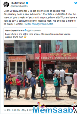 """Taking to his Twitter, he wrote, """"Look who's in line at the wine shops ..So much for protecting women against drunk men"""""""