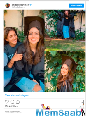 Big B, Abhishek Bachchan are super proud of their newly-graduated Navya Naveli!