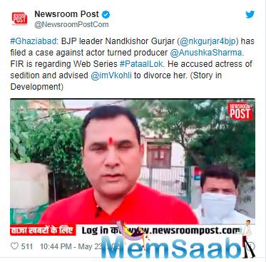 'Pataal Lok' Controversy: BJP MLA Nandkishor Gurjar wants Virat Kohli to divorce Anushka Sharma