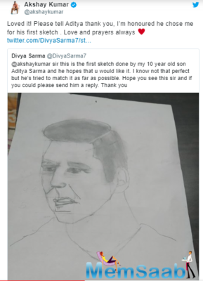 Akshay, who has become quite active on social media, recently responded to his 10-year-old fan who made a sketch for the first time.