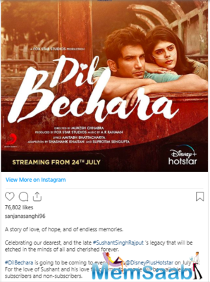 Dil Bechara is the official remake of the 2014 Hollywood romantic drama The Fault in our Stars, based on John Green's popular novel of the same name.