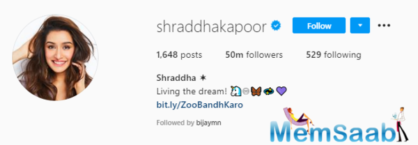 Shraddha Kapoor crosses a huge milestone as she crosses 50 million followers on Instagram