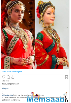 Kangana Ranaut's social media team has shared a picture of a doll designed after the actress' character in the 2019 film, Manikarnika: The Queen Of Jhansi.