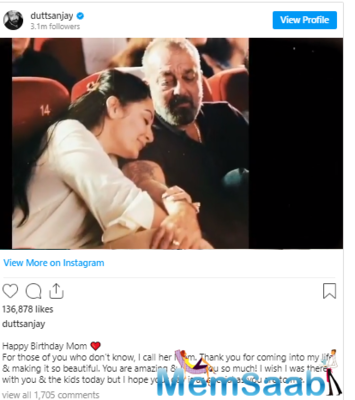 Sanjay Dutt's wish for wife Maanayata Dutt will melt your heart; Take a look