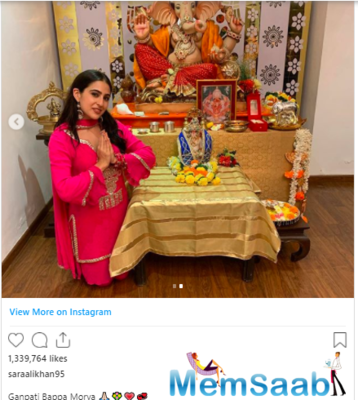 Sara Ali Khan looks stunning as she shares pictures of her Ganpati Celebrations