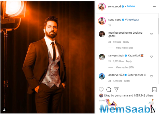 Ranveer Singh comments 'kadakkkkk' on 'Simmba' co-star Sonu Sood's latest picture sporting a tuxedo