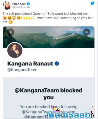 Farah Khan Ali calls Kangana Ranaut 'Self Proclaimed Queen' of Bollywood