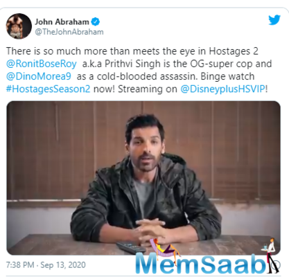 Amongst all the appreciation for the series, here's John Abraham praising the show and Dino Morea's character.