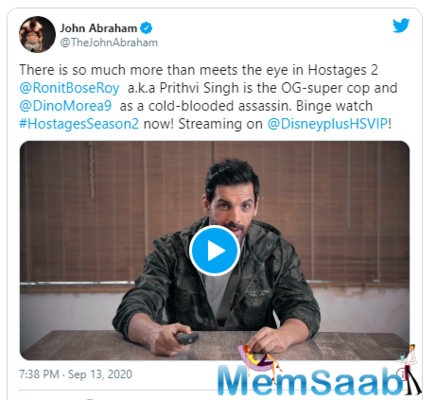 Hostages Season 2: John Abraham is mesmerised by the show, shares a video to praise the actors