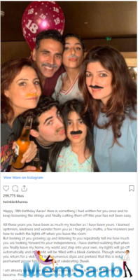 Twinkle Khanna parties with family as son Aarav Turns 18; pens a lovely note for him, have a look