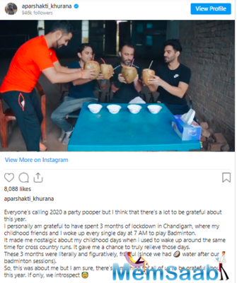 Aparshakti made the most of his free time with his family in his hometown. Recently, he took to Instagram and remembered his lockdown days there.