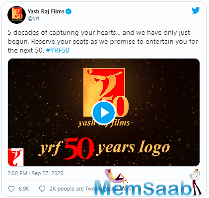 Aditya Chopra unveils new logo of Yash Raj Films on the occasion of its 50th anniversary