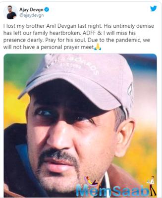 Ajay Devgn's brother Anil Devgan passes away, actor pens heartfelt note