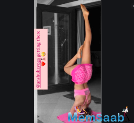 Ananya Panday shared a glimpse of her yoga session and her bid