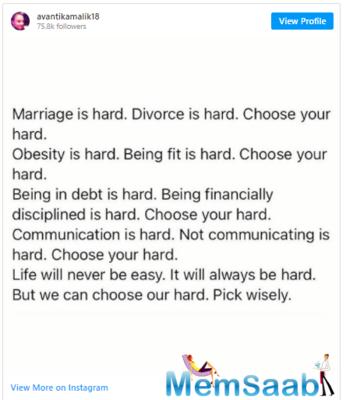 Avantika's Insta post reads,
