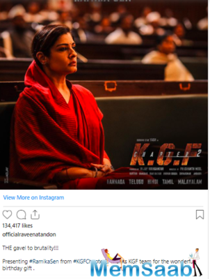 The makers of 'KGF: Chapter 2' unveiled the first look of the actress from the film on the occasion of her birthday today.