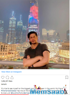 Shah Rukh Khan poses against Burj Khalifa as the skyscraper lit up to mark 55th birthday of the superstar; says,