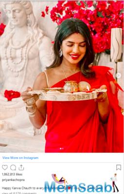 Our very own desi girl, Priyanka Chopra Jonas, who's in the US with husband Nick Jonas, too, celebrated the day with her husband.