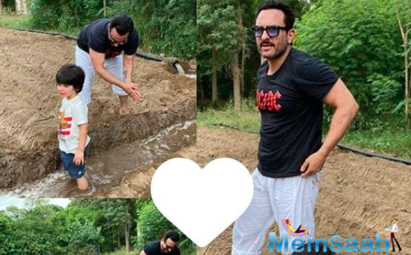 Saif Ali Khan enjoys his farming session, munchkin Taimur Ali Khan gives company
