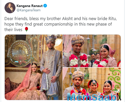 Kangana Ranaut shares beautiful pictures from her brother Aksht's wedding; welcomes Ritu to the family