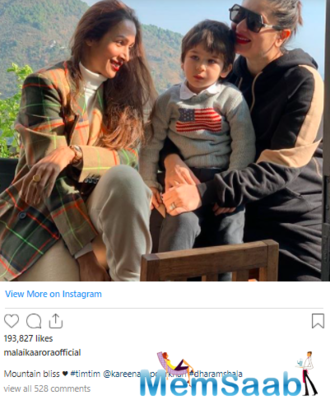 Malaika Arora soaks up in the sun in Dharamshala with BFF Kareena Kapoor Khan and Taimur, calls it 'mountain bliss'