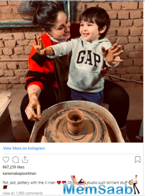 Taimur Ali Khan tries his hands at pottery; Kareena shares adorable video