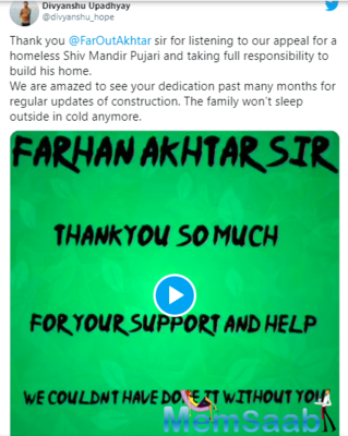 Farhan Akhtar helps build a home for a homeless man