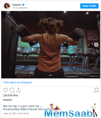 Giving fans a glimpse of her gym session, Bollywood actor Taapsee Pannu on Tuesday dropped an aesthetic picture showcasing her chiselled physique on social media.