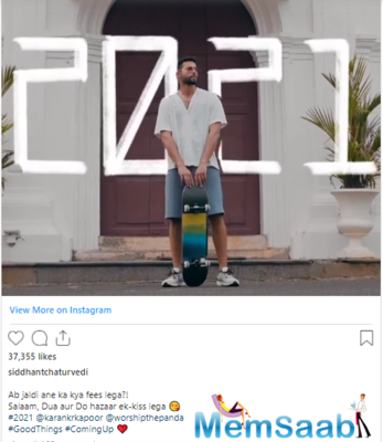 Siddhant Chaturvedi cannot wait for the upcoming year, going by his new post on Instagram.