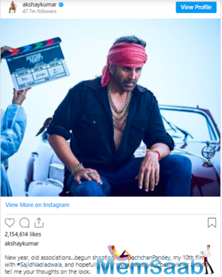 Akshay Kumar recently started shooting for his action entertainer 'Bachchan Pandey' and was snapped in a rugged avatar on the sets.