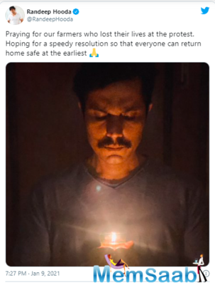 Now, popular actor Randeep Hooda, in his latest tweet, backed the farmer's movement while praying for the farmers who lost their lives during this protest.