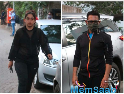 While Aamir teamed up black hoodie with blue tee and shorts, Ira too opted for a casual outfit as she stepped out.