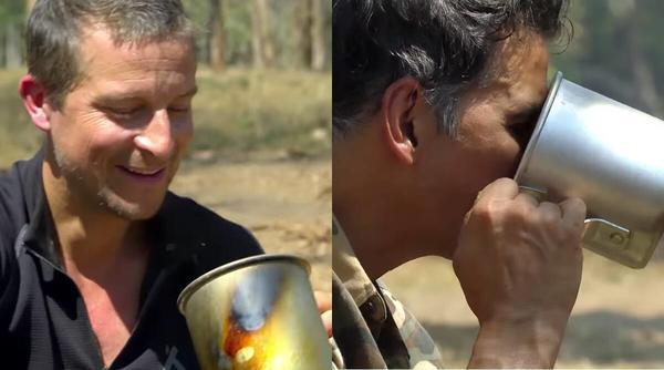 Akshay Shoots with Bear Grylls