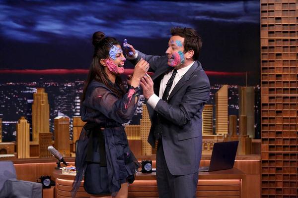 Priyanka Chopra celebrates Holi on 'The Tonight Show' with Jimmy Fallon.