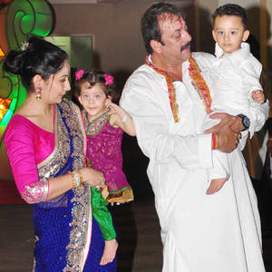 Sanjay And Manyata With Their Son And Daughter Still