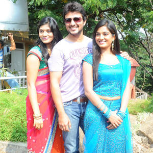 Sowmya,Raja And Sruthi Smiling Face Look Still At Chowrastha Movie Launch