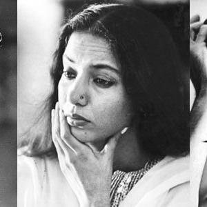 Om Puri,Naseeruddin And Shabana Black And White Photo Still